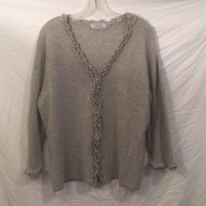 Lord & Taylor grey cardigan 2 ply cashmere sweater